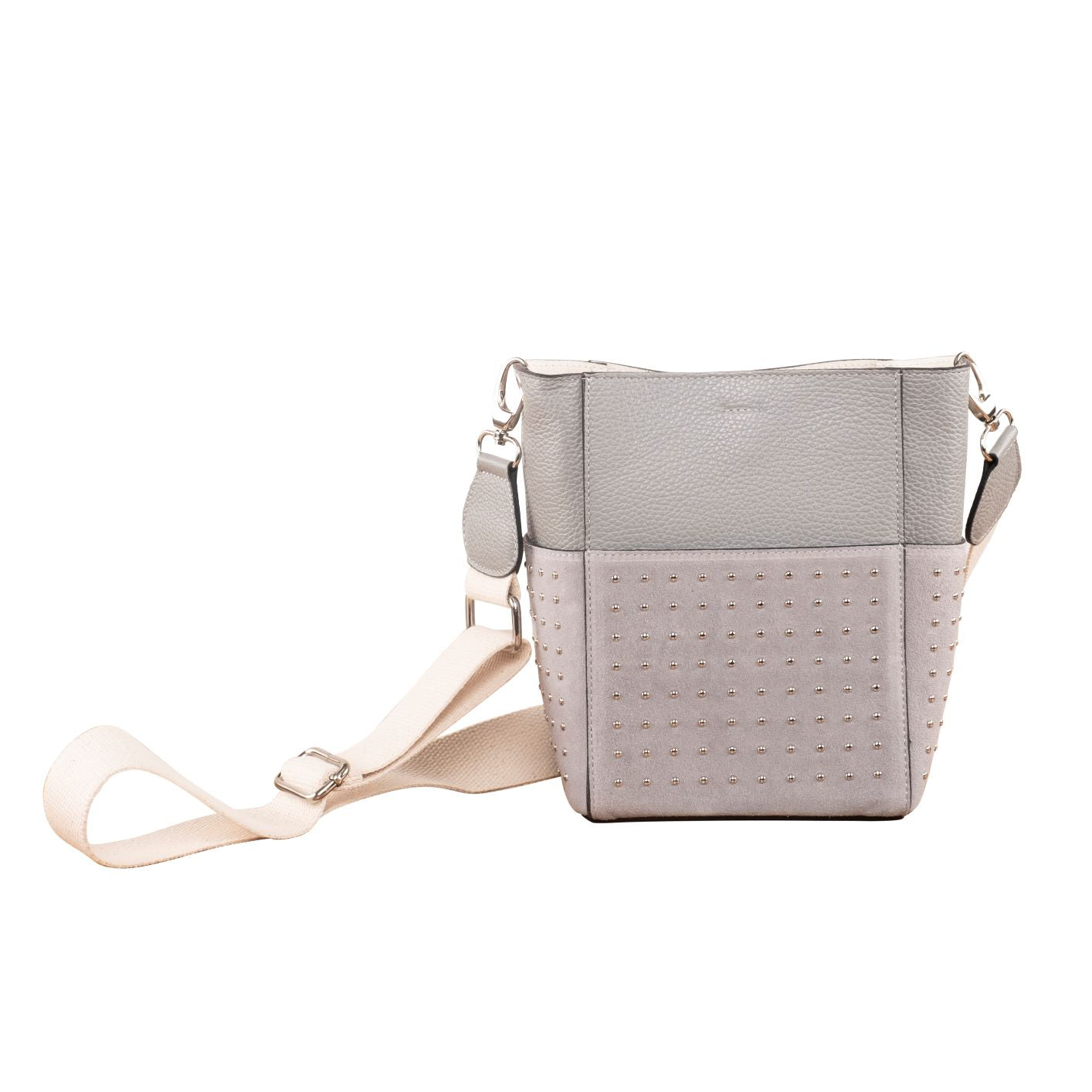 The LADY STUD CROSSBODY LEATHER BAG ( GREY )
