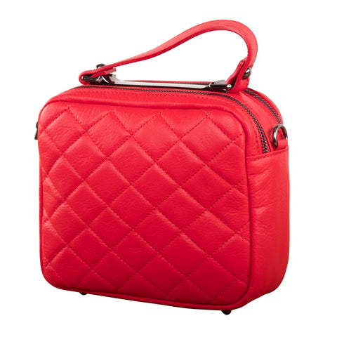 RED MINI SQUARE QUILTED SLING/ BAG