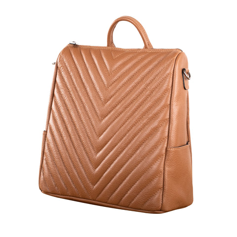 SEAL THE DEAL QUILTED LEATHER HANDBAG (COGNAC)
