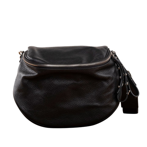 UTILITARIAN OFF-DUTY BLACK SLING WITH TOP ZIP ( BLACK )