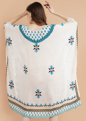Pashma Elegant White- Blue V Neck Abstract Kaftan