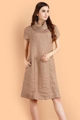 Pashma Linen Princess Line Beige color Dress