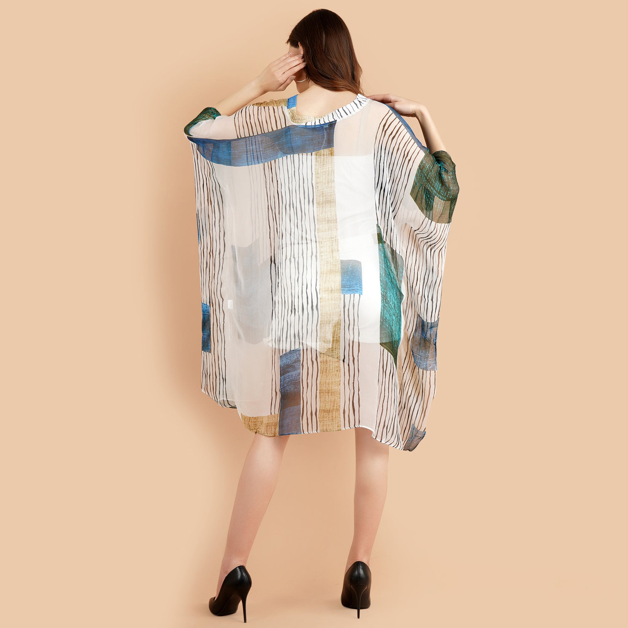 Pashma Smart White- Blue color Abstract Kaftan for fresh summer fashion