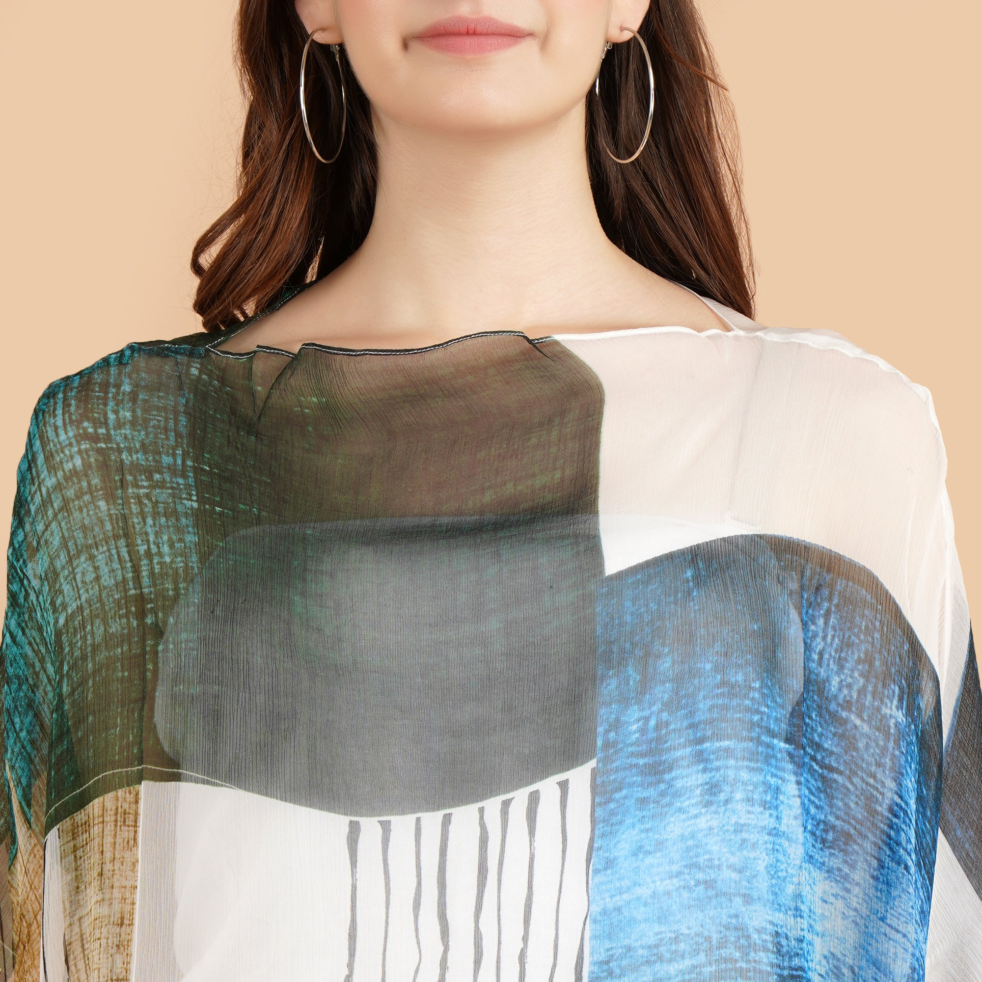 Pashma Smart White-Blue Boat Neck Abstract print Kaftan