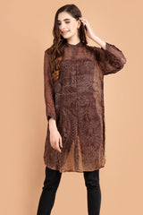 Pashma Smart Silk Dress with Paisley print