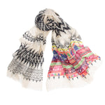 Pashma Elegant White Abstract printed scarf crafted in Silk Linen