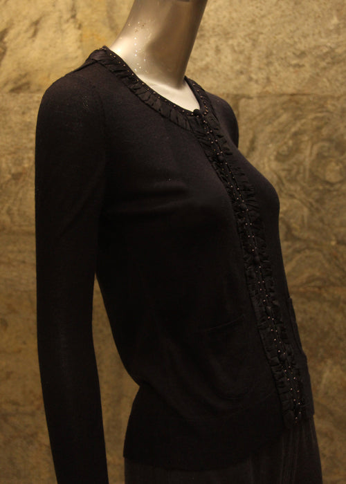 Pashma Black Round Neck full sleeves tee with Ruffle detail