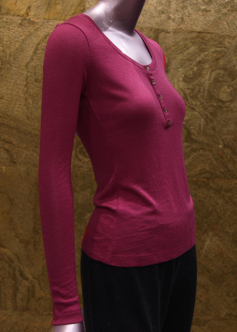 Pashma Deep Pink Round neck henley with glass button at placket