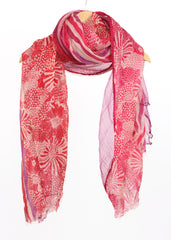 Pashma Shaded Floral striped scarf crafted in Silk Cashmere