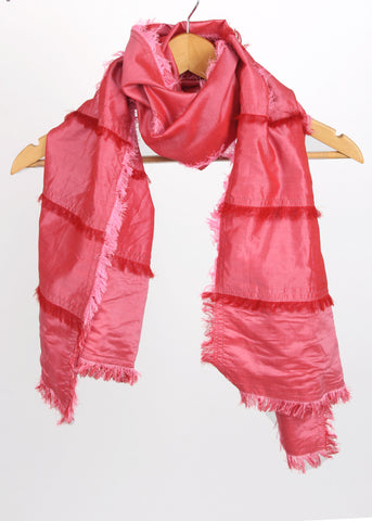 Pashma Cut-n-sew fringes Red Scarf crafted in Silk Cotton