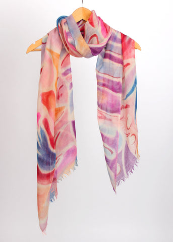 Pashma Abstract printed scarf crafted in Silk Cashmere