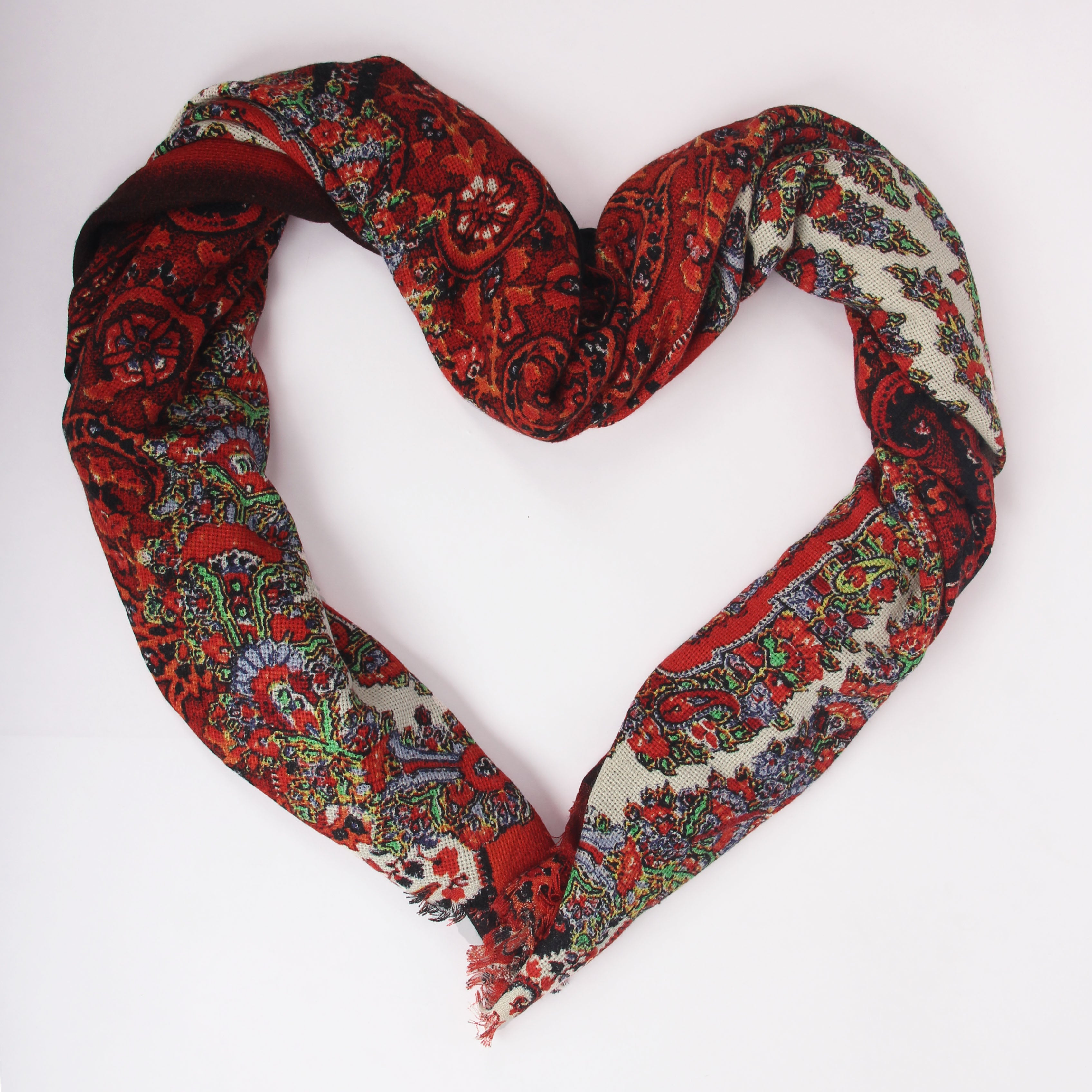 Pashma Red layered scarf scarfted in Silk Cashmere