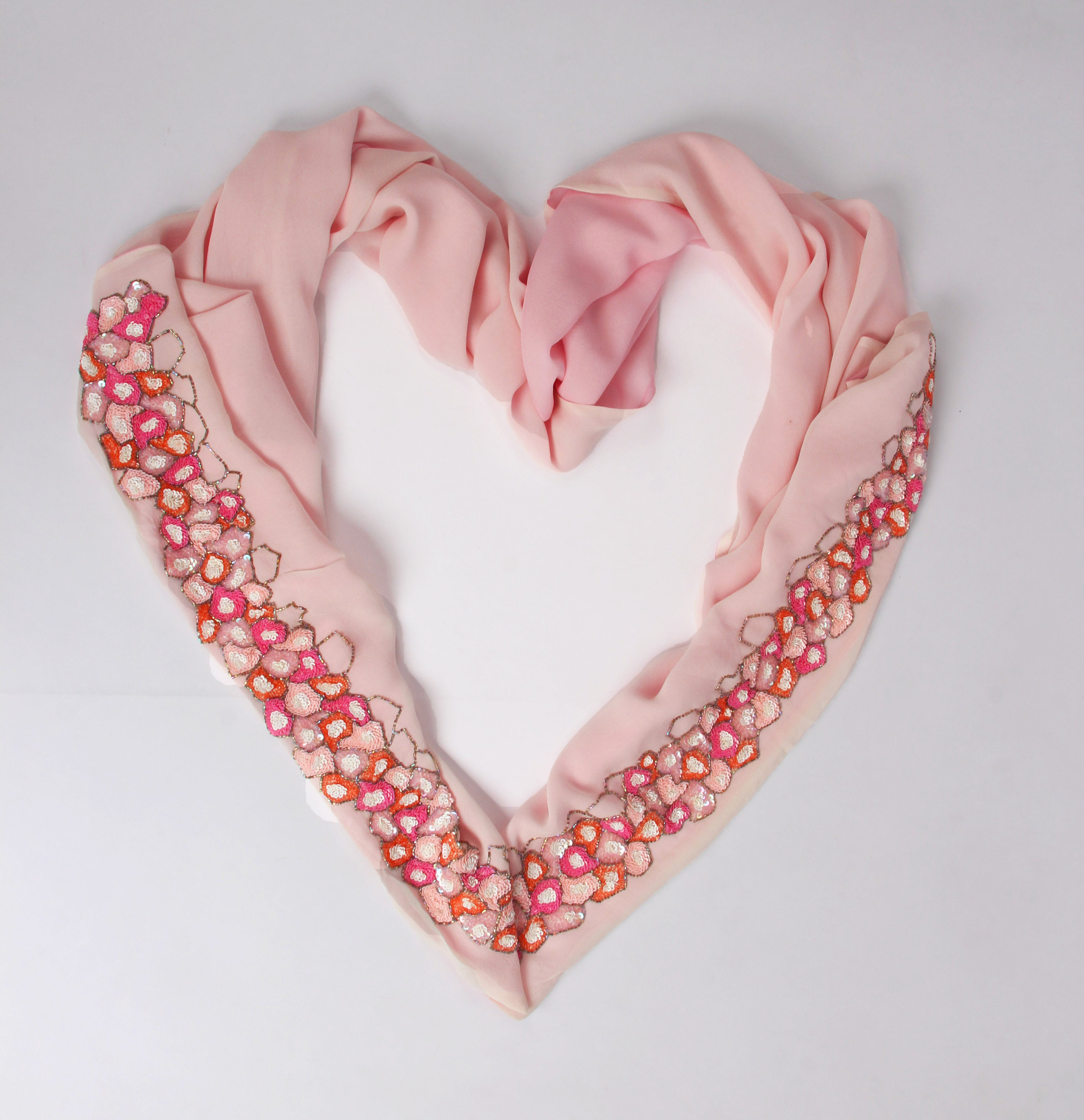 Pashma Sequined Layered Silk Pink Scarf