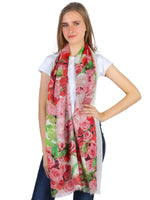 Pashma Rose flower printed stole crafted in Silk Cashmere Crepe