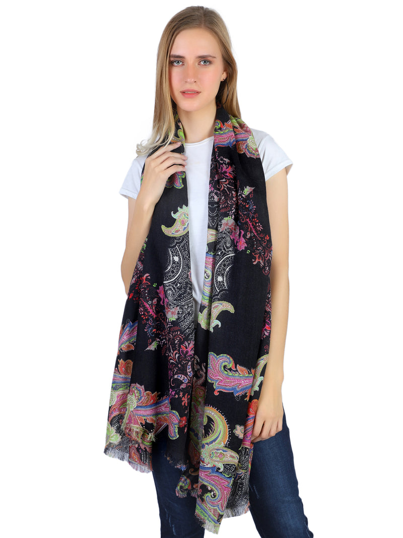 Pashma Floriana Paisley Scarf in Silk and Cashmere