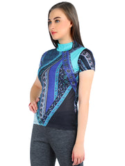 Pashma Blue Silk Cashmere Cardigan set  with abstract print.