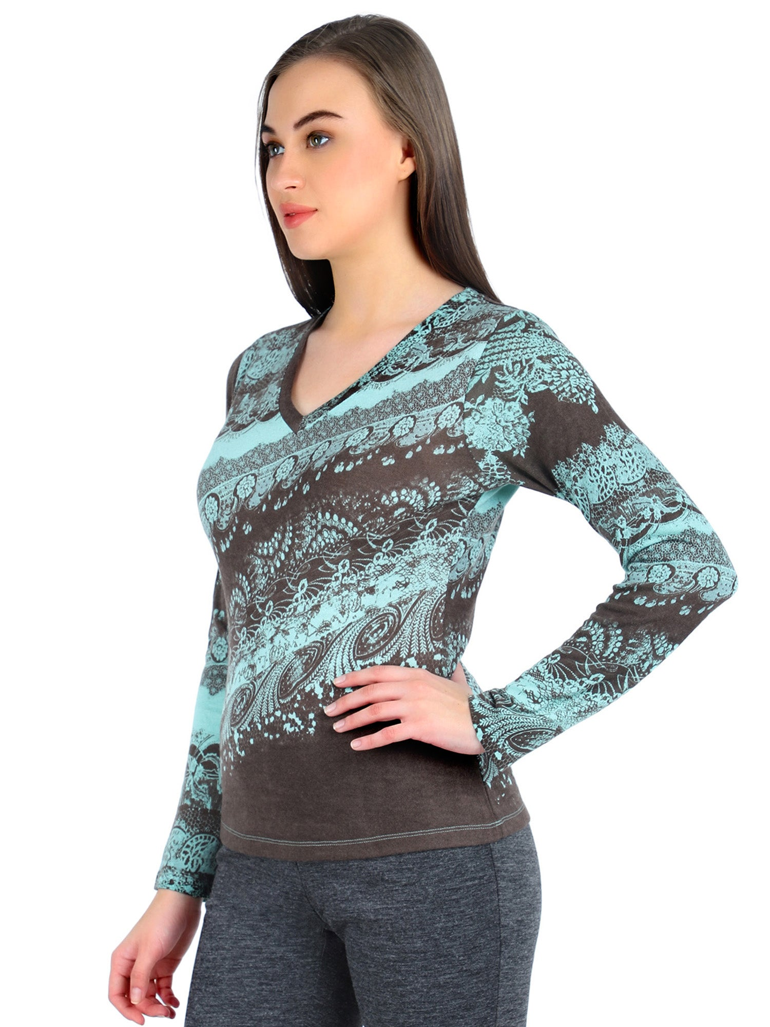 Pashma Brown Silk Wool Cashmere V- Neck tee with paisley print.