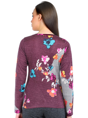 Pashma Purple Silk Wool Cashmere V- Neck tee with flower print.