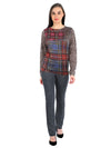 Pashma Brown Silk Cashmere Sweatshirt with plaid print.