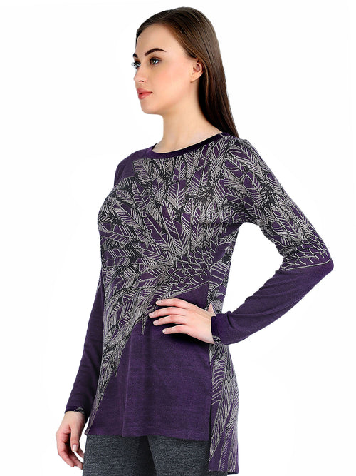 Pashma Purple Silk Cashmere Boat Neck Tunic with feather print.