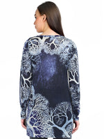 Pashma Blue Silk Cashmere boat Neck Tunic with abstract print.