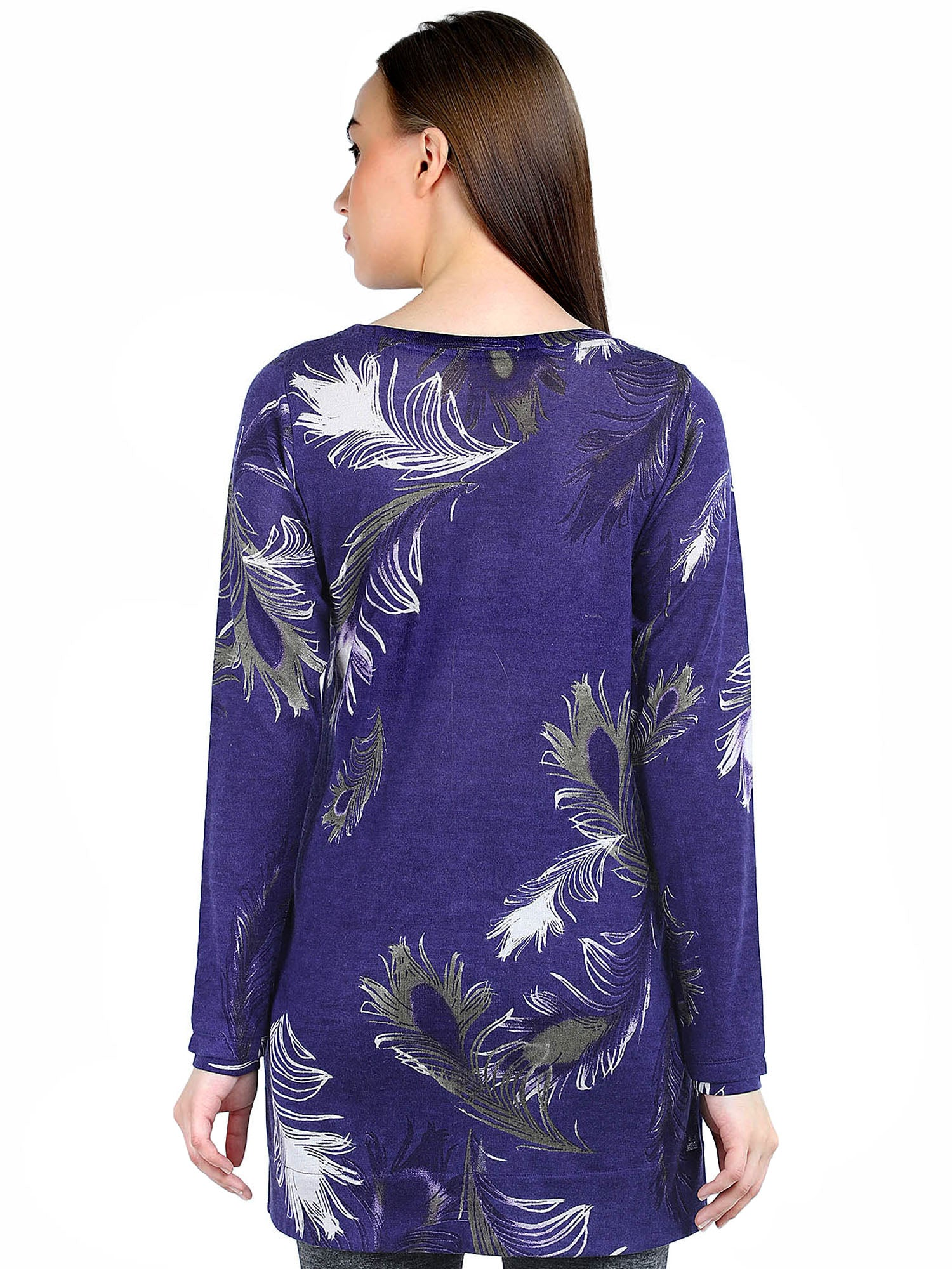 Pashma Blue Silk Wool Cashmere Boat Neck Tee with leaf print