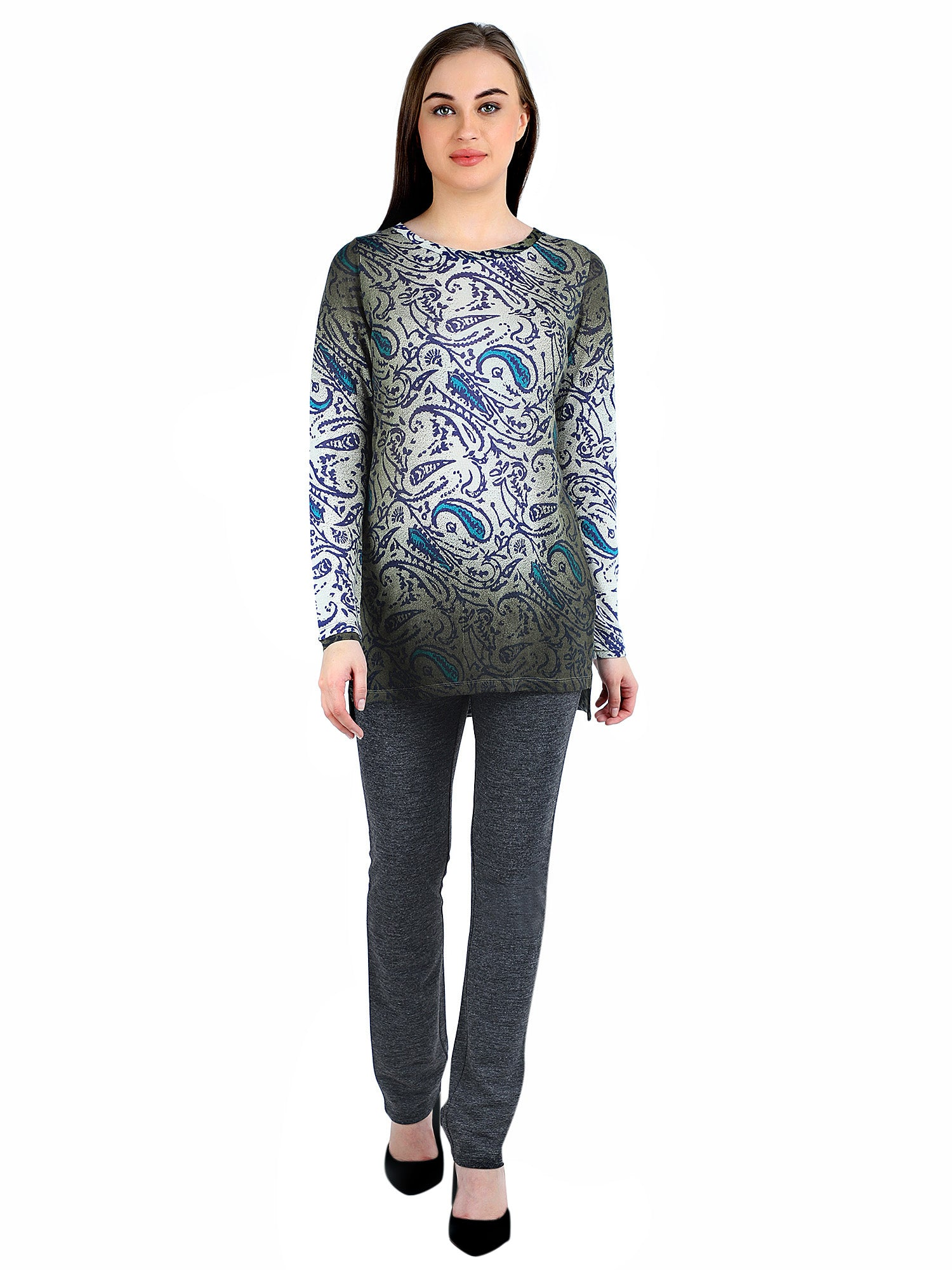 Pashma Blue Silk Wool Cashmere Boat Neck Tunic with paisley print.