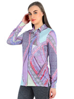 Pashma Purple Silk Cashmere Shirt with abstract print.
