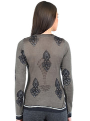 Pashma Black Silk Wool Cashmere V- Neck tee with block print.