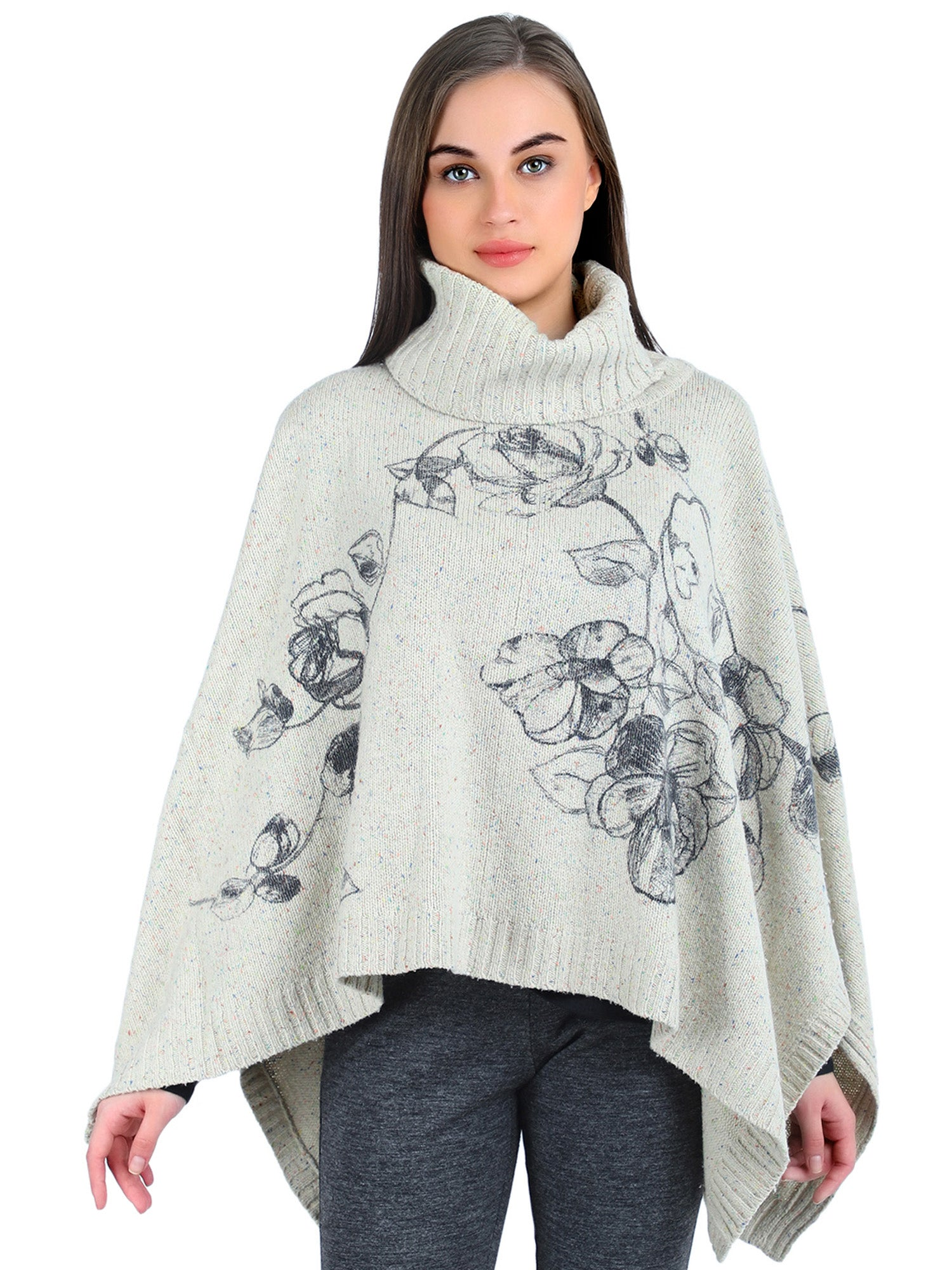 Pashma Ivory Silk Wool Cashmere Poncho with Flower Print