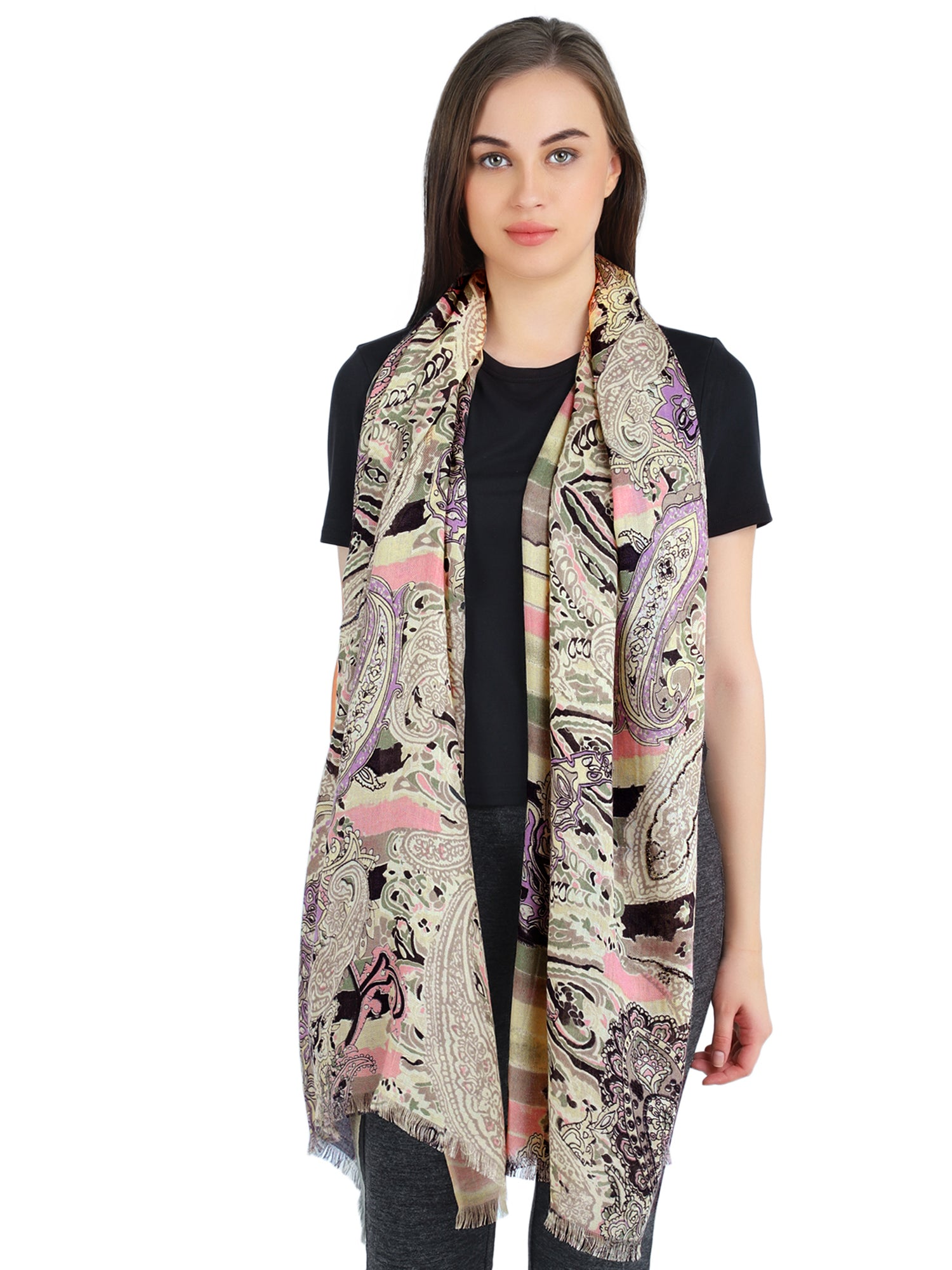 Pashma Paisley printed beaded scarf crafted in Silk Cashmere Twill