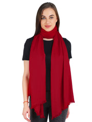 Pashma Deep Red Stole crafted in Modal Silk Wool Cashmere