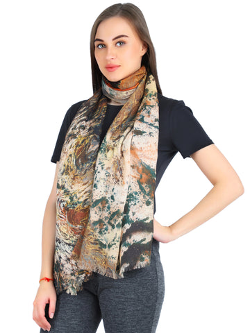 Pashma Multi color print crafted in Silk Cashmere Crepe