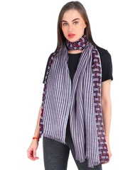 Pashma Purple Printed Scarf crafted in Modal Silk Wool Cashmere