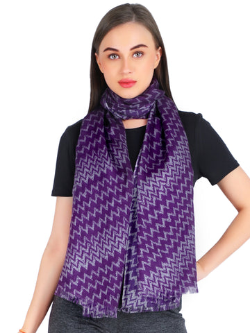 Pashma Bias Zigzag printed scarf crafted in Silk Wool