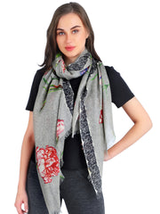 Pashma Flowers and Lace printed scarf crafted in Silk Cashmere Crepe