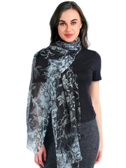 Pashma Persian Poetry Floral Scarf in Silk and Cashmere