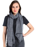 Pashma Black Silk Wool Cashmere sequenced scarf