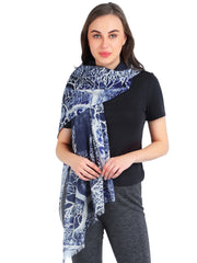 "Pashma ""Tree of Life"" Printed Scarf in Silk and Cashmere"