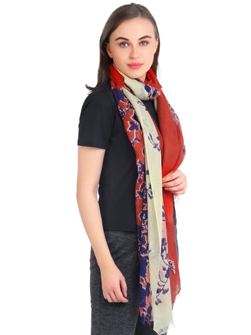 Pashma Floral Shaded Stole in Rust color crafted in Silk Cashmere Kashgar