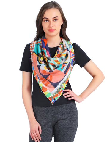 Pashma Multi Color Print Silk Cotton Scarf