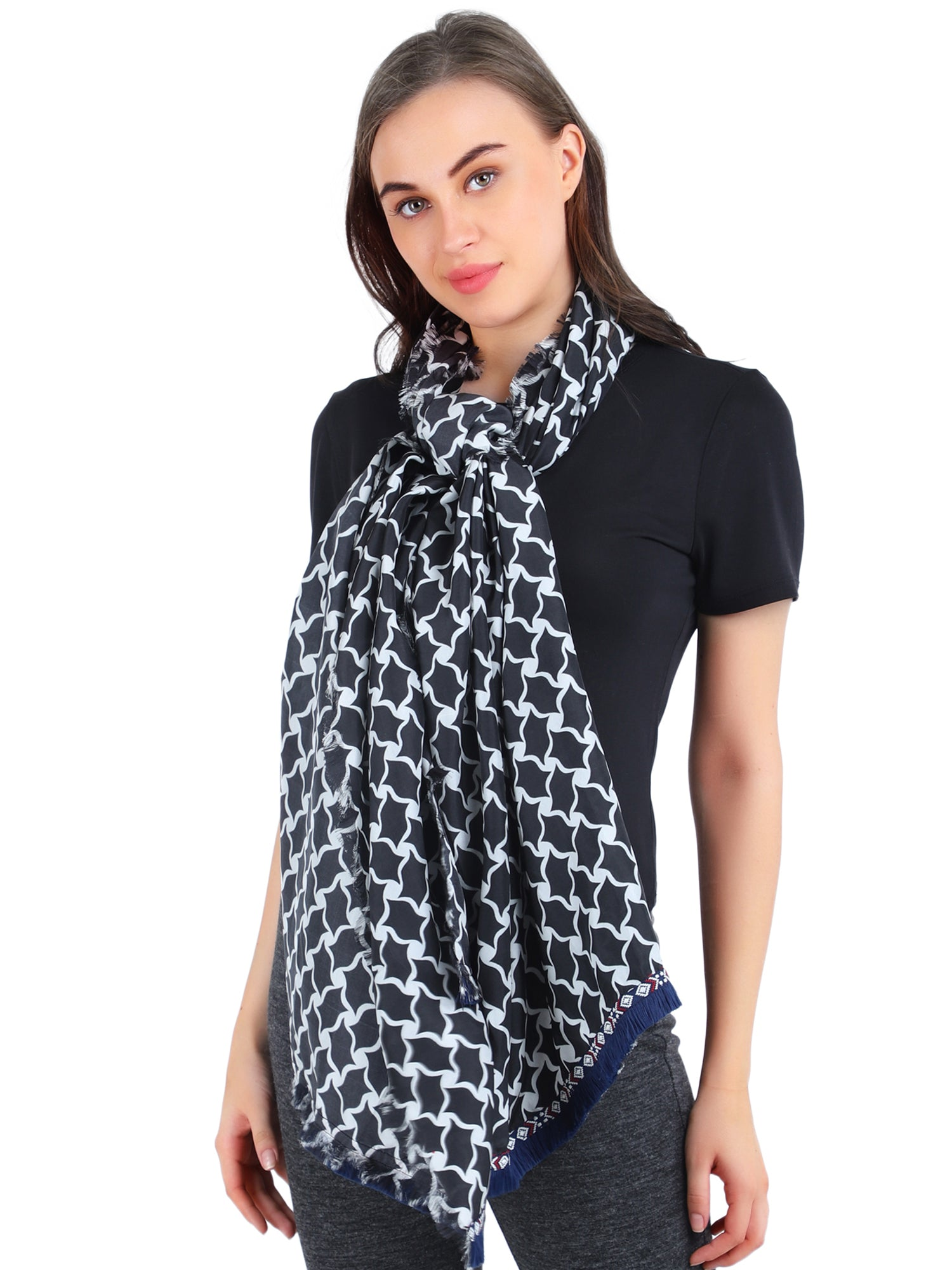 Pashma Black and White Silk Scarf