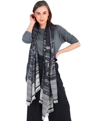 Pashma Geo Art printed scarf crafted in  Silk Cashmere Crepe
