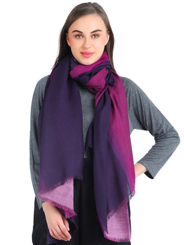 Pashma Purple Ombre Stole crafted in Modal Silk Wool Cashmere