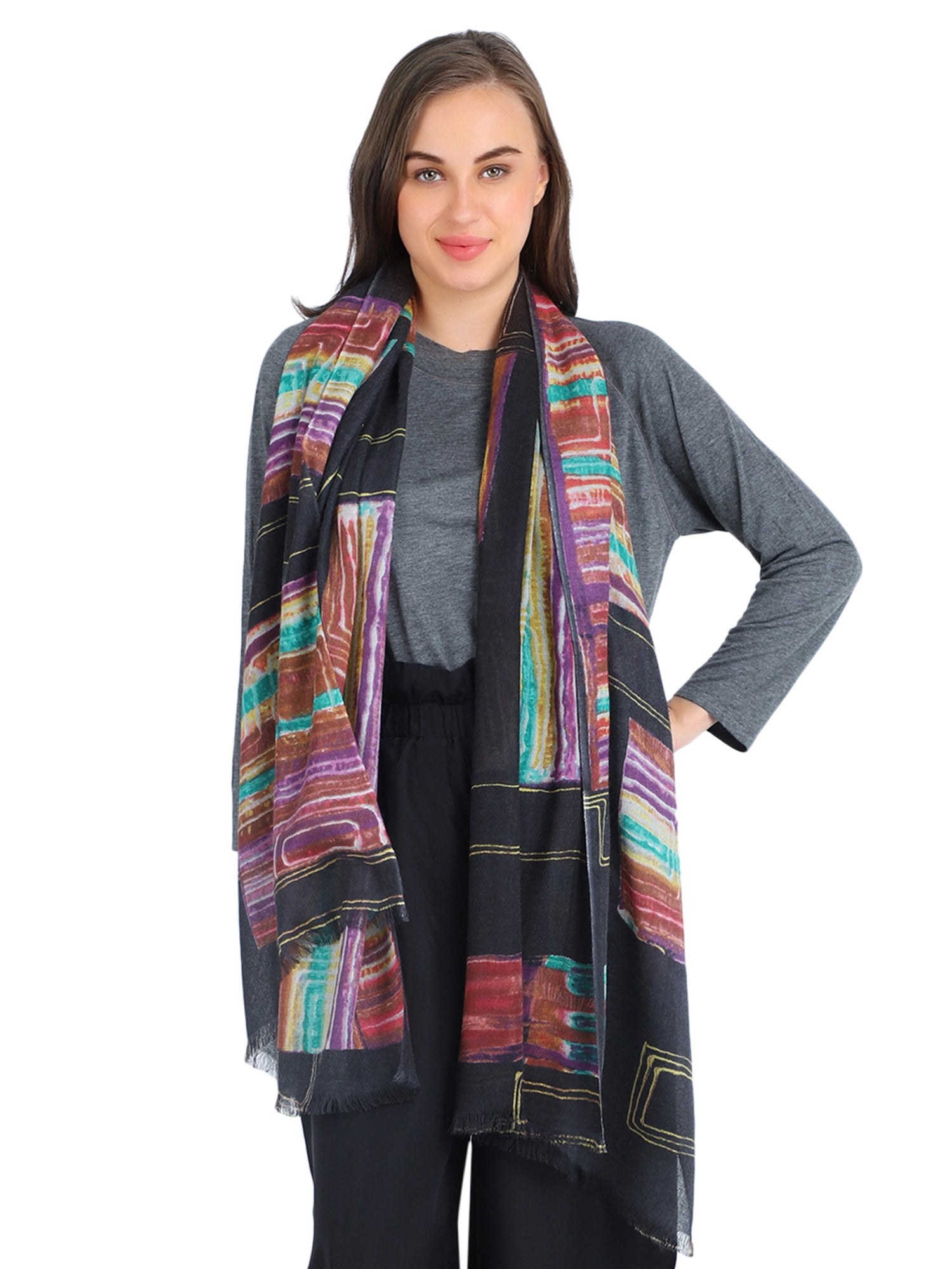 Pashma Multi Color printed scarf crafted in Silk Cashmere Crepe