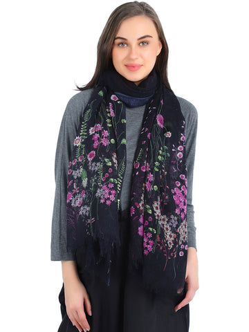Pashma Stem Flower Printed scarf crafted in Silk Cashmere Kashgar