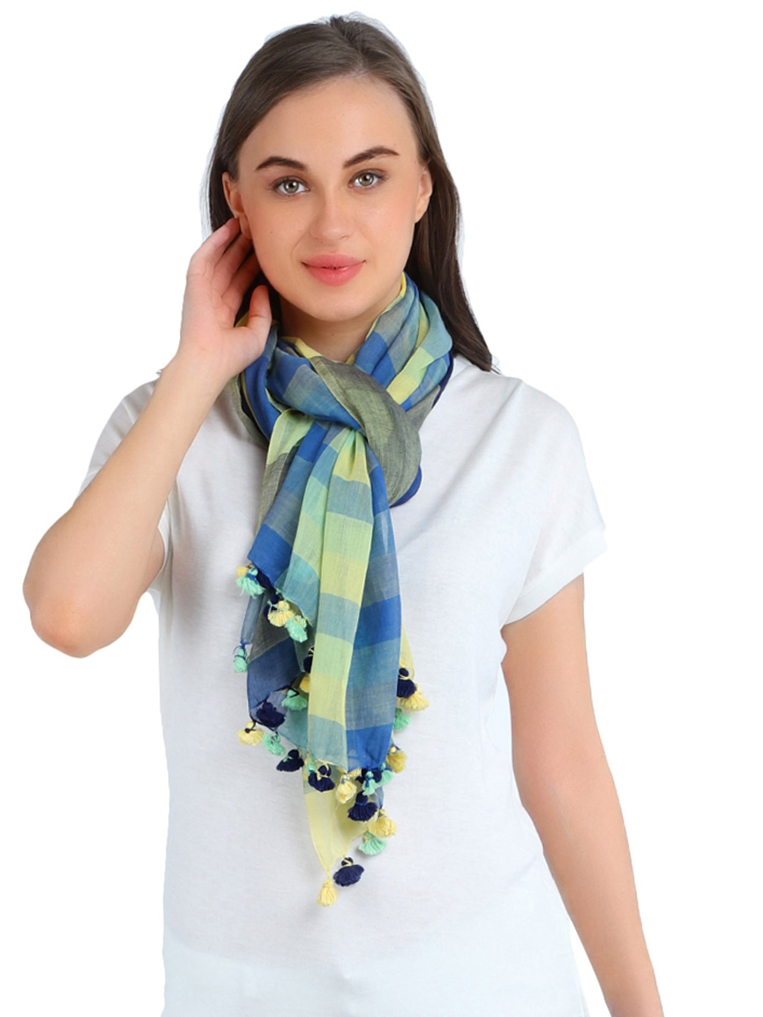 Pashma Green Navy Handwoven Bengal Cotton Scarf with Tassels
