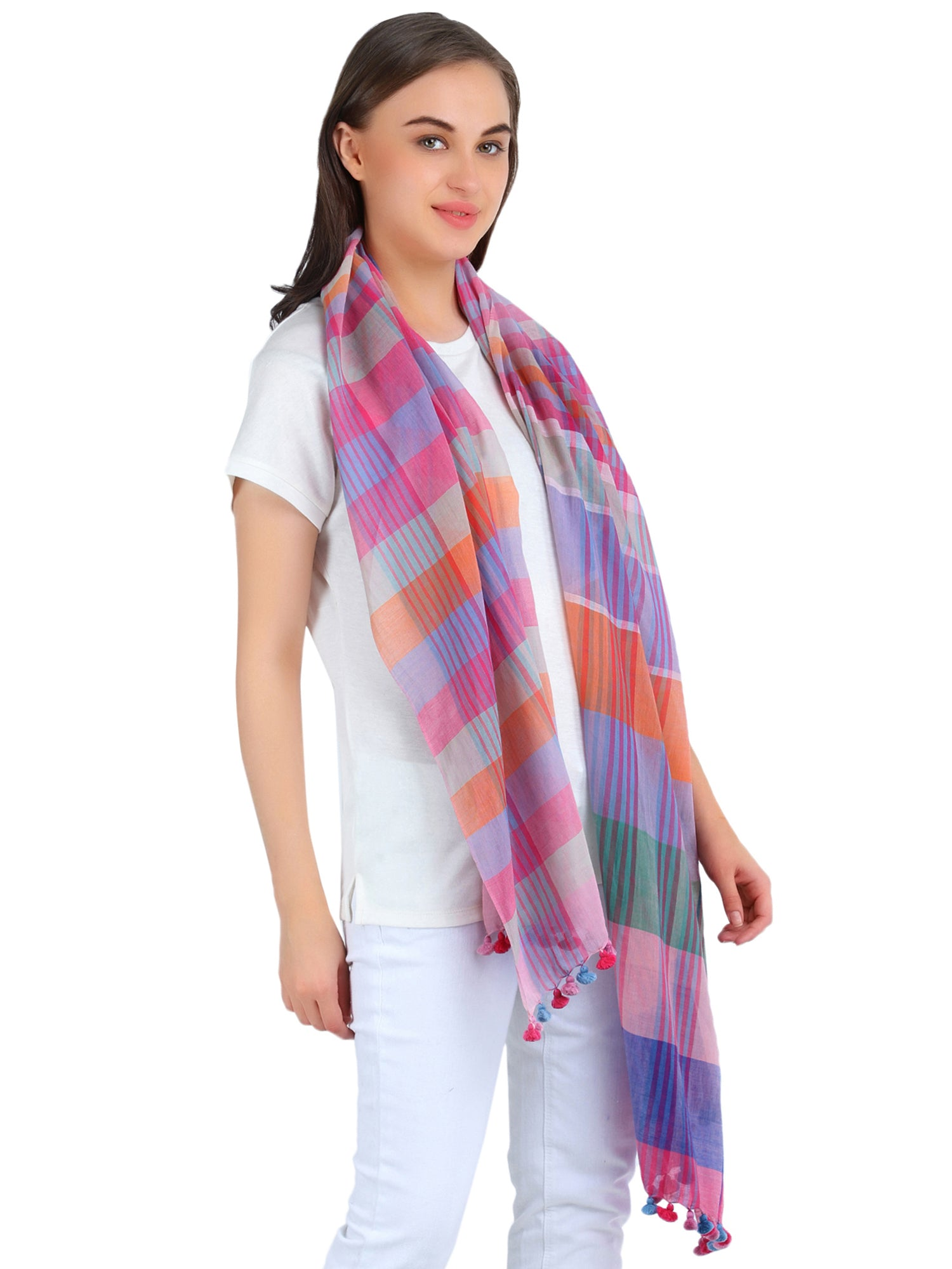 Pashma Pink-Orange Handwoven Bengal Cotton Scarf with Tassels