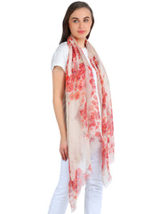Pashma Red Floral scarf crafted in Silk Cashmere Kashgar
