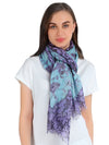 Pashma Persian Poetry Floral Scarf in Silk and Cashmere ( Pastel )